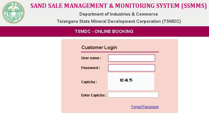 ssmms telangana customer login page
